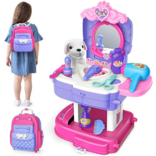 Sanlebi Pet Care Gromming Toy Kids Vet Set Dog Role Play Backpack Games for Children Toddlers