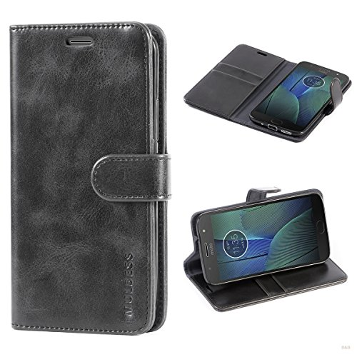 Mulbess Handyhülle für Motorola Moto G5s Plus Hülle Leder, Motorola Moto G5s Plus Handytasche, Vintage Flip Hüllen Schutzhülle für Motorola Moto G5s Plus Hülle, Schwarz