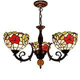 Tiffany Style Chandelier Vetro Mattina Glory Glory Shades Shades 3 bracci Lampadario con lampada a sospensione con soffitto invertito