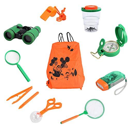 COLFULINE Kinder Outdoor Exploration Spielzeug, 12x Draussen Forscherset, Fernglas, Taschenlampe, Kompass, Lupe, Käferfänger, Campingausrüstung Adventure Set für 3-10 jahreJunge