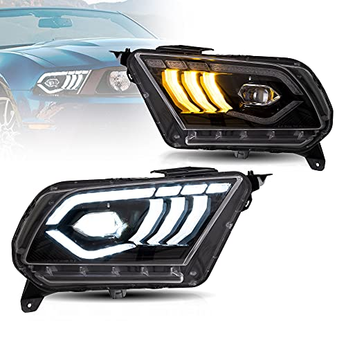 VLAND LED Headlights For [ 2010-2014 Ford Mustang ] W/ Welcome / Breathe Function Dynamic DRL & Sequential Turn Signal (Just Fit for Halogen Factory light)