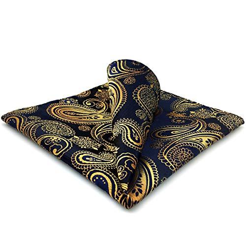 Shlax&Wing Hombre Pañuelo De Bolsillo Para Seda Clásico Azul Dorado Cachemir 32cm