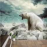 NIdezuiai Wandbild,Anpassen Von 4D-Tapeten Polar Bear Ice