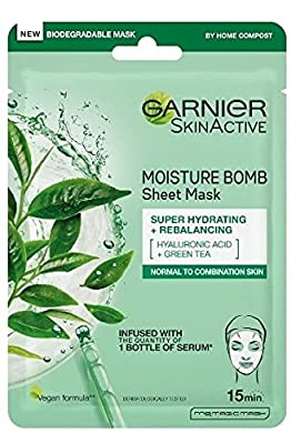 Garnier Moisture Bomb Tissue Mask, Green Tea Hydrating Tissue Face Sheet Mask Combination Skin 32 g from L'Oreal