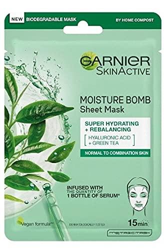 Garnier Moisture Bomb Green Tea and Hyaluronic Acid Sheet Mask, Hydrating & Rebalancing Face Mask, For Sensitive Skin, Biodegradable and Vegan Tissue, 28g