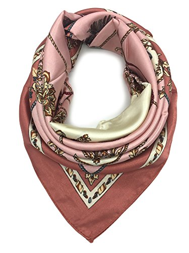 YOUR SMILE Silk Like Scarf Women's Fashion Pattern Large Square Satin Headscarf Head Dress (201)
