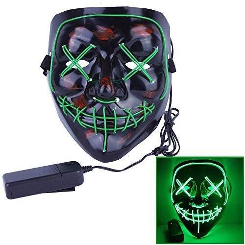 Contever Halloween LED Máscaras, Horror Máscara Halloween Cosplay Grimace Festival Party Show Fancy Halloween Costume