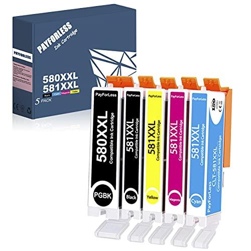 5 PayForLess 580 581 Druckerpatronen Ersatz für PGI-580 CLI-581 XXL Patronen kompatibel für Canon pixma ts6350 TR8550 TS9550 TS8350 TS8250 TS8150 TS6250 TS705 TR7550 TS6150 TS9150 TS9155 TS8151 TS6151