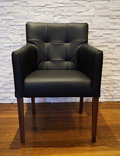 Quattro Meble Breite Schwarz Echtleder Esszimmerstühle Massivholz Stühle Kross Arm Pik Lederstühle Sessel mit Armlehnen Echt Leder Esszimmer Stuhl