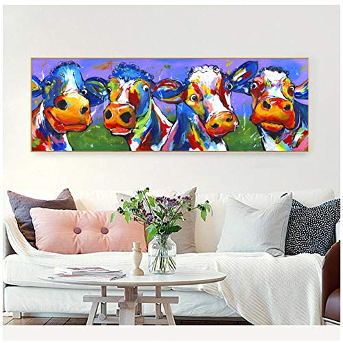 Genetic Los Angeles Xindong Poster Cute Cow Wall Art Decor Print Abstract Pictures Modern Canvas Print Oil Painting for Living Room Home Decor 12x36 inch No Frame