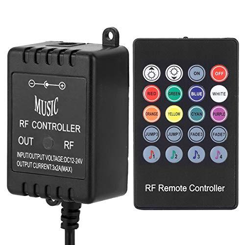 SANON Black Dc 12-24V 20Keys Led Music Controller Rf Sensor de Música Control Remoto para Rgb Led Strip Light