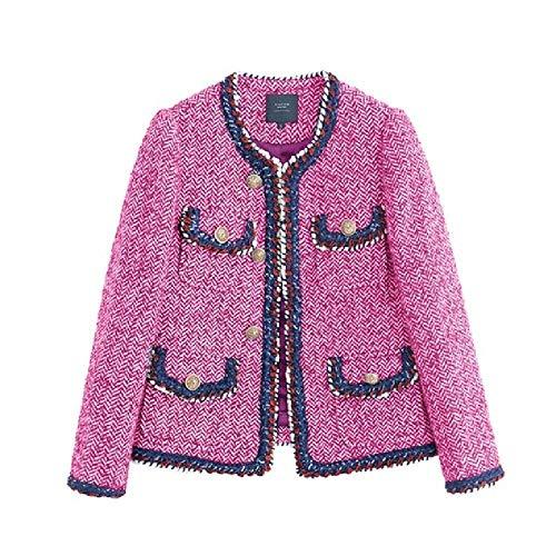 NOBRAND - Chaqueta de tweed para mujer, color rojo rosa
