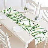 QIAOLII Gartentischläufer Grüne Pflanze Bambusblatt Wilder Couchtischläufer Bauernhaus Bankett Tischläufer 16x72 Zoll für Dinnerpartys Veranstaltungen Dekor