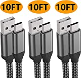 USB C Charger Cable,10FT 3Pack,3A Fast Charging,Nylon,Charge Cord For Samsung Galaxy Note 10 9 8 S10e S10 S9 S8 Plus A10e A50 A20,LG Stylo 5 4 V50 V40 G8 G7 G6 Thinq Q7,Moto Z4 Z3 G7 One,Sony Xperia 5