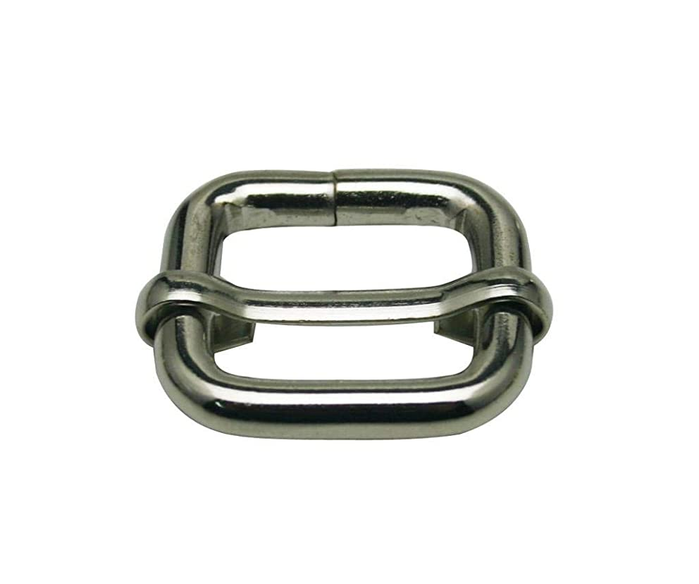 Generic Metal Silvery Rectangle Buckle with Slider Bar 0.8