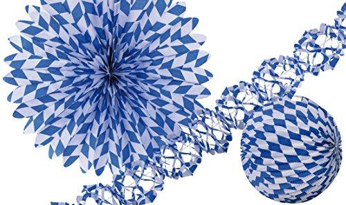 Amscan 1004 - Deko-Set Bayern, Girlande, Lampion, Fächer, Blau, Weiß, Dekoration, Oktoberfest