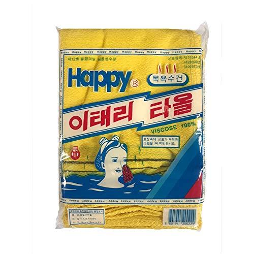 Koreanisches Badetuch Waschlappen Named Italy Handtuch 20 Stück/Packung Körperpeeling Echtes Peeling-Bad-Fäustlinge Entfernen abgestorbene Haut Gelb und Grün (Gelb)
