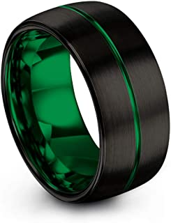 Tungsten Carbide Wedding Band Ring 10mm for Men Women Green Red Fuchsia Copper Teal Blue Purple Black Center Line Dome Black Brushed Polished