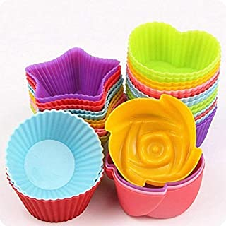 wonderworld Silicon Mix Shapes Muffin Cupcake Jelly Dhokla Idli Moulds (Random Colour n Shape as per Available) - Pack of ...