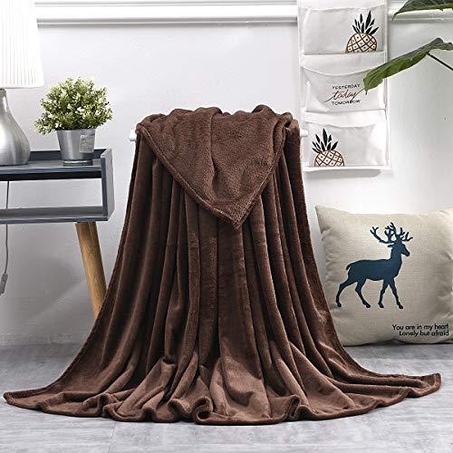 KEITE Mantas para Sofa de Franela,Manta para Cama 90 Reversible de 100% Microfibre Extra Suave,Manta Transpirable (Marrón, 150 x 200 cm)