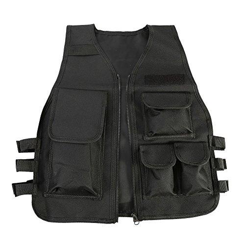 Chaleco Multi-bolsillos de Nylon Ajustable CS Airsoft Molle Chaleco para Caza Fotografía Pesca para Niños de 8 a 14 Años ( Color : Negro )