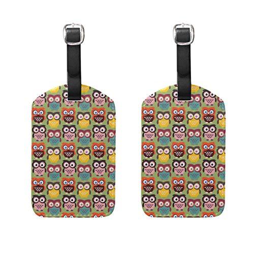 Kleine Eule Papier 2 Stück PU Leder Gepäckanhänger ID Tags Visitenkarte zum Aufhängen an Reisetasche Koffer Gepäck