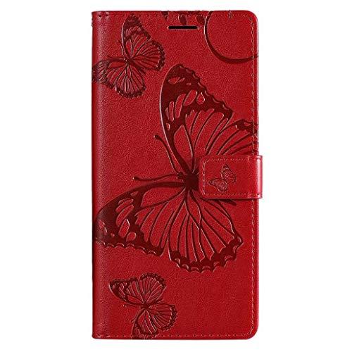 HAOYE Hülle für LG K41S / LG K51S, Geprägt Schmetterling Muster Leder Brieftasche Flip Handyhülle, Kartenfach & Magnet Kartenfach Schutzhülle für LG K41S / LG K51S, Rot