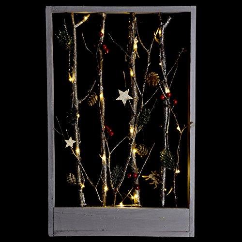 Féérie Lights & Christmas Cadre Lumineux Nature Noël - 32 x 5 x 50 cm - Marron