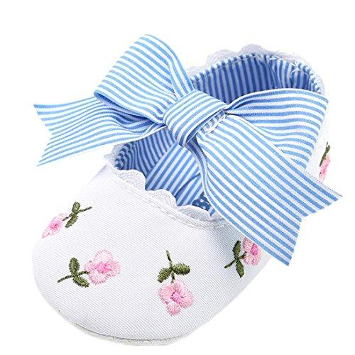 Fossen Bebe Niña Zapatos Recien Nacido Primeros Pasos Bordado Floral Bowknot Antideslizante Suela Blanda Zapatos