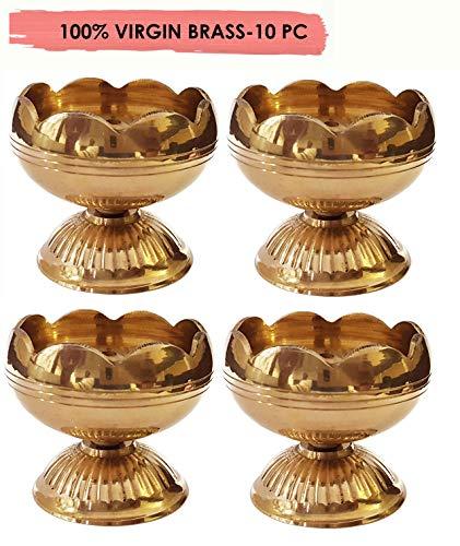 Craftsman Diwali Puja Diya Indischer Pooja-Öllampe, Messing, 10 Stück Deepawali Diya Teelichthalter / Diwali-Dekoration, 6,3 cm