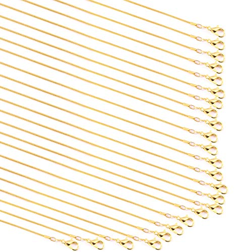 Forise 24 Pack Gold Plated 1.2 mm Snake Chains Necklace with Lobster Clasps for Jewelry Making,18 Inch and 20 Inch
