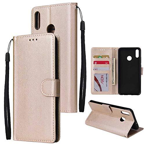 THRION Huawei Honor 8X Hülle, PU Brieftaschenetui mit magnetischer Handschlaufe und Ständerhalterung für Huawei Honor 8X, Gold