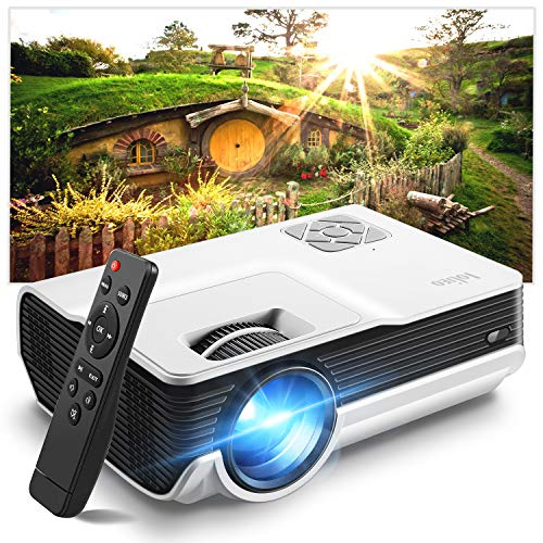 lightinthebox dvd players Mini Projector, Iolieo Supported HD 1080P Home Projectors, 200'' Display 50000 Hours LED Life, Dual Speakers Portable Projector, Compatible with USB, HDMI, VGA, TF, PS4, Laptop, DVD