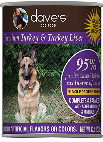Dave's Pet Food Healthy & Grain Free Canned Dog Food for Weight Loss - 95% Turkey & Turkey Liver - 12Count of 13 oz Cans - Made in The USA, Purple (6-85038-11806-6)