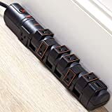 ECHOGEAR Rotating Outlet Surge Protector with 8 Outlets, Flat Plug, Long Cord, &...