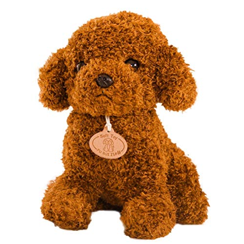 STOBOK Teddy Hund Puppe Spielzeug Kuscheltier Plüschhund Stofftier Welpen Kissen Kissen Dunkelbraun (Hellbraun)