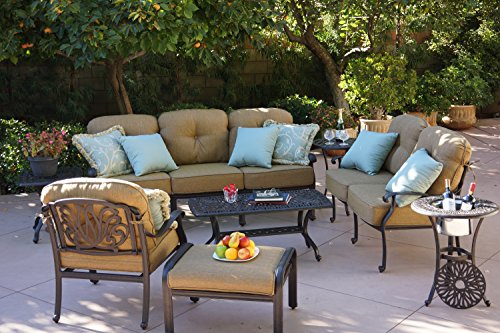 Darlee Elisabeth Cast Aluminum 8-Piece Deep Seating Conversation Set with Cushions, Series 30 End Tables and Coffee Table, Antique Bronze Finish