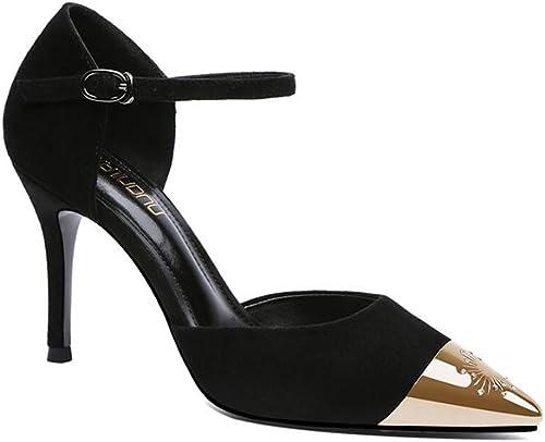 DALL Escarpins Ly-609 Décoration En Métal Printemps Et été Chaussures Pour Femmes Tête Pointue Talons Hauts Sandales 9 Cm De Haut (Couleur   Noir, taille   EU 37 UK 4.5-5 CN37)
