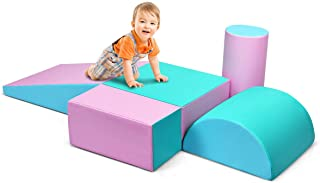 Costzon Crawl and Climb Foam Play Set, Colorful Fun Foam Play Set, 5 Piece Lightweight Interactive Set, Children's Software Composite Toy for Toddlers, Preschoolers, Baby and Kids (Pink)