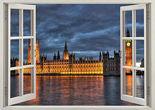 HUGF Wandtattoo Houses Parliament 3d Window Wall View Sticker Poster Mural Decal