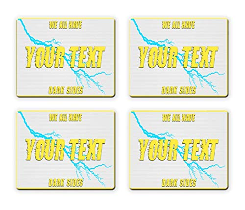 BRGiftShop Personalize Your Own Superhero Series: We All Have Dark Sides Stormy Set of 4 Square Beverage Coasters