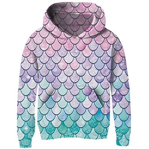 TUPOMAS Girls Pullover Hoodies 3D Realistic Pint Mermaid Fish Scale Sweatshirt Fleece Inside Kids Trendy Tops with Pockets Size 5-6 Years Old