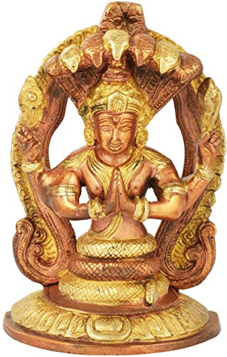 Exotic India Patanjali - Brass Statue - Color Copper Gold Color