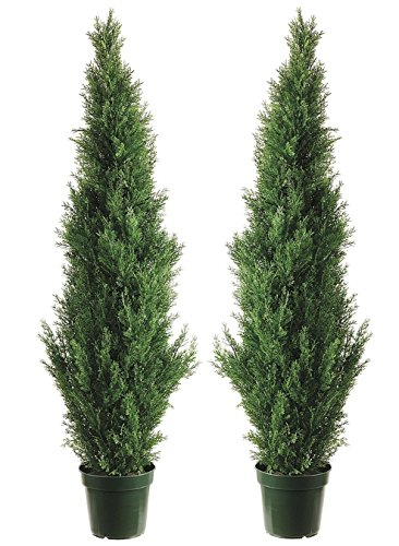 Two 4 Foot Outdoor Artificial Cedar Topiary Trees Uv Rated Potted Plants