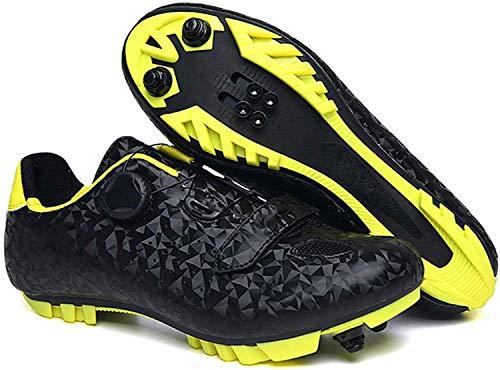ZQW Zapatillas De Ciclismo De Carreteras con Tacos, Zapatos De Ciclismo De Hombre Zapatos Fuertes Ligeros Soles De Fibra De Carbono, Zapatos De Bicicleta De Carreras De Carreteras Auto-Bloqueo