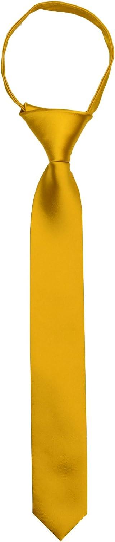 Black n Bianco Boys' Satin Slim Zipper Neck Tie