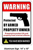 Rockmount Electronics Rust Free Aluminium Sign Large 14' X 10' - Protected by Armed Property Owner/You Have Been Warned - Gun Handgun Security Alert Aluminum Metal Warning Sign