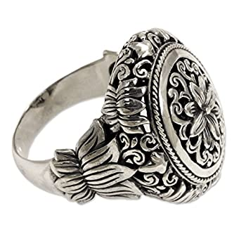 NOVICA .925 Sterling Silver Hand Made Floral Cocktail Ring Precious Lotus