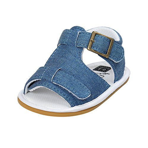 Fossen Verano Zapatos Bebe Niño con Suela Dura Caucho Sandalias de Antideslizante Zapatillas (12-18 Meses, Azul)
