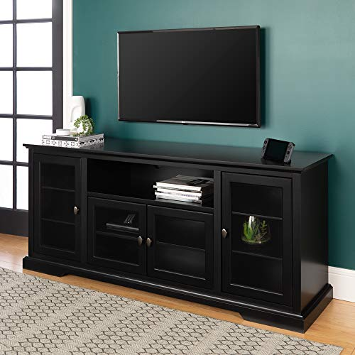 """WE Furniture 70"""" Highboy Style Wood TV Stand Console, Black"""